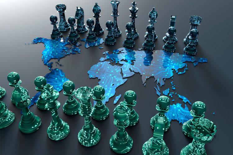 Tablero de ajedrez en representación de la ciberguerra.