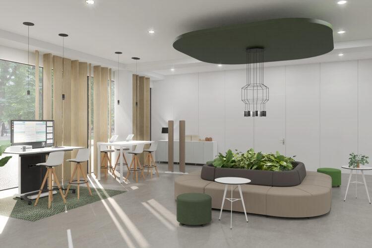 Workation, espacio híbrido, hall, hotel